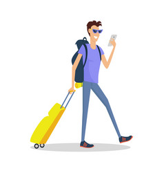 Man with luggage makes selfie summer vacation vector