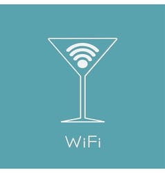 Martini glass with Wireless Network wifi icon insi vector image vector image