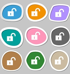 open lock icon symbols Multicolored paper stickers vector image