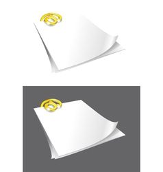 Sheets of paper and gold binder vector image vector image