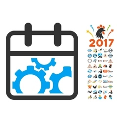 Technical day flat icon with 2017 year bonus vector