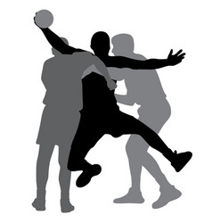 Two handball players blocking opponent player vector