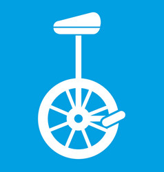 Unicycle icon white vector