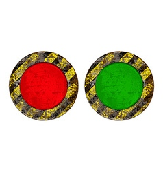 Vekton dirty old rusty red and green round button vector
