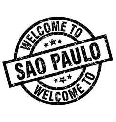 Welcome to sao paulo black stamp vector