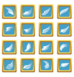 wing icons azure vector image