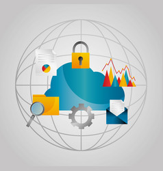world cloud data email security folder vector image