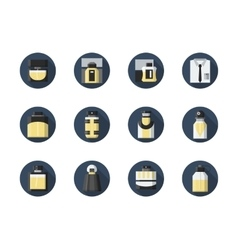Perfume for men round flat icons set vector