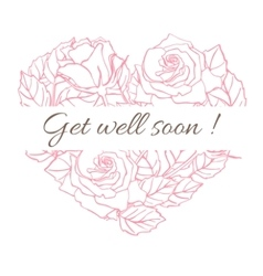 Get well soon friendly vintage card with vector