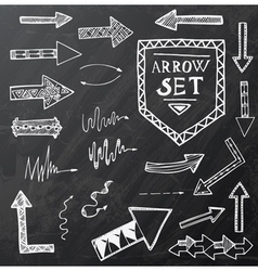 Hand drawn arrow icons set on black vector