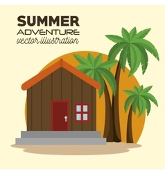 Summer adventure landscape icon vector