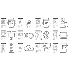 Mobility line icon set vector