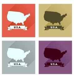 Concept of flat icons with long shadow united vector image