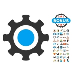 Cogwheel icon with 2017 year bonus pictograms vector