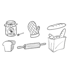 A jam bread and baking materials vector