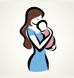 isolated symbol of mom and child vector image