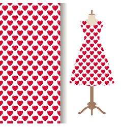 Dress fabric with red hearts pattern vector