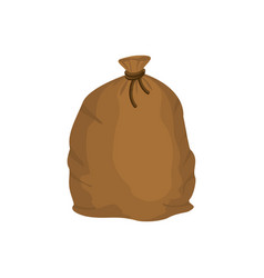 Big knotted sack of grain brown textile bag of vector