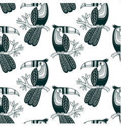 Seamless pattern of cute toucan in boho style vector