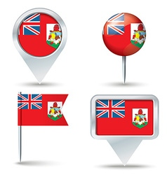 Map pins with flag of bermuda vector