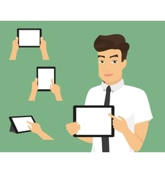 Man showing something displayed on tablet pc vector