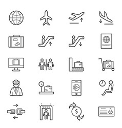Airport icons line vector