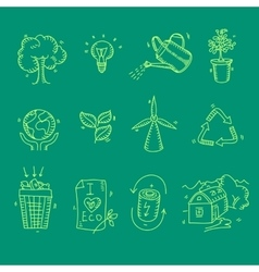 Ecology organic icons eco and bio elements in hand vector
