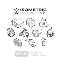 Isometric outline icons set 35 vector