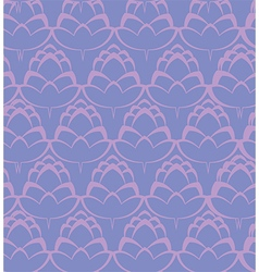 Pink hop flowers on the purple backdrop pattern vector