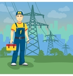 Electrician man near high-voltage power lines on vector