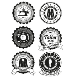Set of black round badges for tailor shops vector