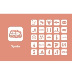Set of spain simple icons vector