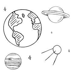 Set of space doodles isolated on white background vector