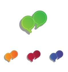 Speech bubble sign Colorfull applique icons set vector image
