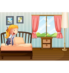 A girl smiling at her room vector image vector image