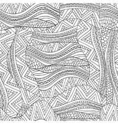 Artistically ethnic waves pattern in doodle style vector