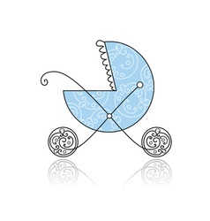 Baby buggy blue for your design vector image vector image