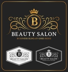 Beauty salon heraldic crest logo template design vector