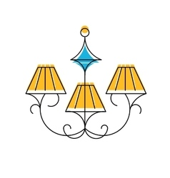 Chandelier line icon hanging vector image