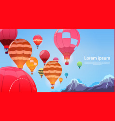 Colorful air balloons flying in sky banner vector