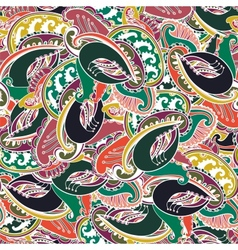 Colorful Indian paisley seamless background vector image vector image