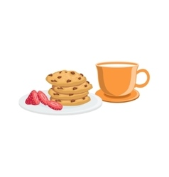 Cookies And Milk Breakfast Food Drink Set vector image vector image
