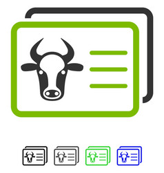 Cow account cards flat icon vector