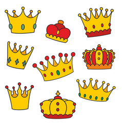 crown set isolated on white background vector image vector image