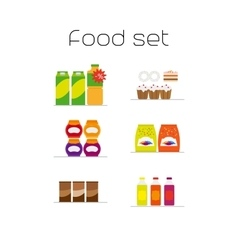 Foods market flat icons set vector image vector image