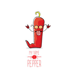 funny cartoon red pepper character isolated vector image vector image