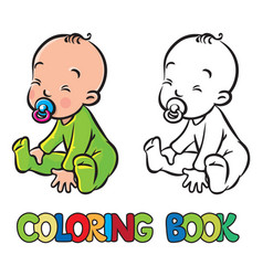 funny small baby sitting with dummy vector image