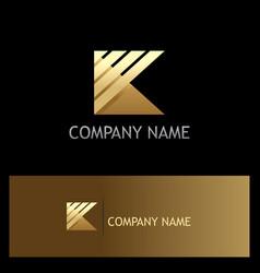 gold letter k stripe shape logo vector image vector image