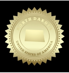 Gold star label North Dakota vector image
