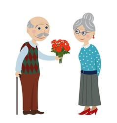 Grandpa gives flowers grandmother vector
